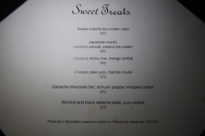 FOUR SEASONS SEYCHELLES: ZEZ RESTAURANT (DINNER)