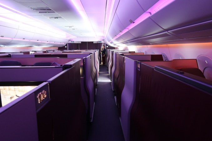 QATAR AIRWAYS A350 BUSINESS CLASS CABIN (IN FLIGHT)