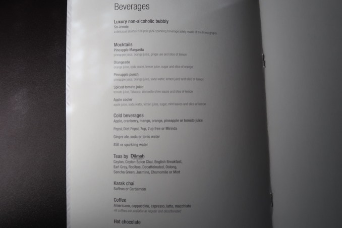 QATAR AIRWAYS A350 BUSINESS CLASS: MENU