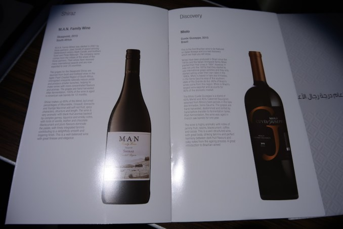 QATAR AIRWAYS A330 BUSINESS CLASS: WINE LIST