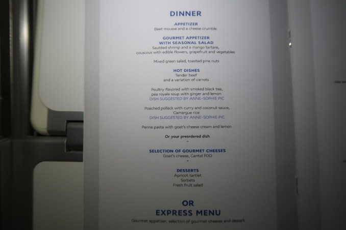 AIR FRANCE BUSINESS CLASS: MENU
