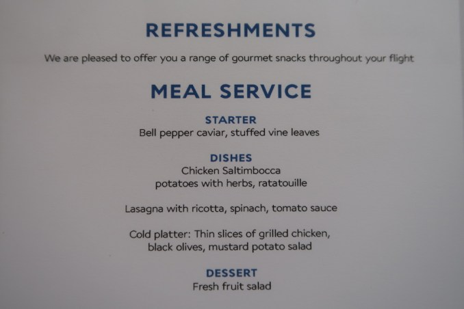 AIR FRANCE B787 BUSINESS CLASS: MENU