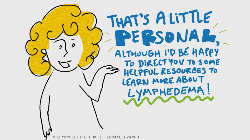 An illustration demonstrating setting a boundary in response to a question about lymphedema.