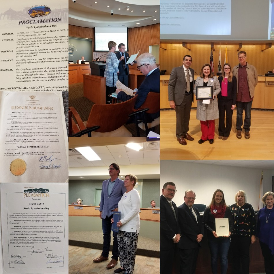 A collage of California towns Pleasanton, Coronado, Imperial Beach and San Jose proclaiming March 6 as World Lymphedema Day.