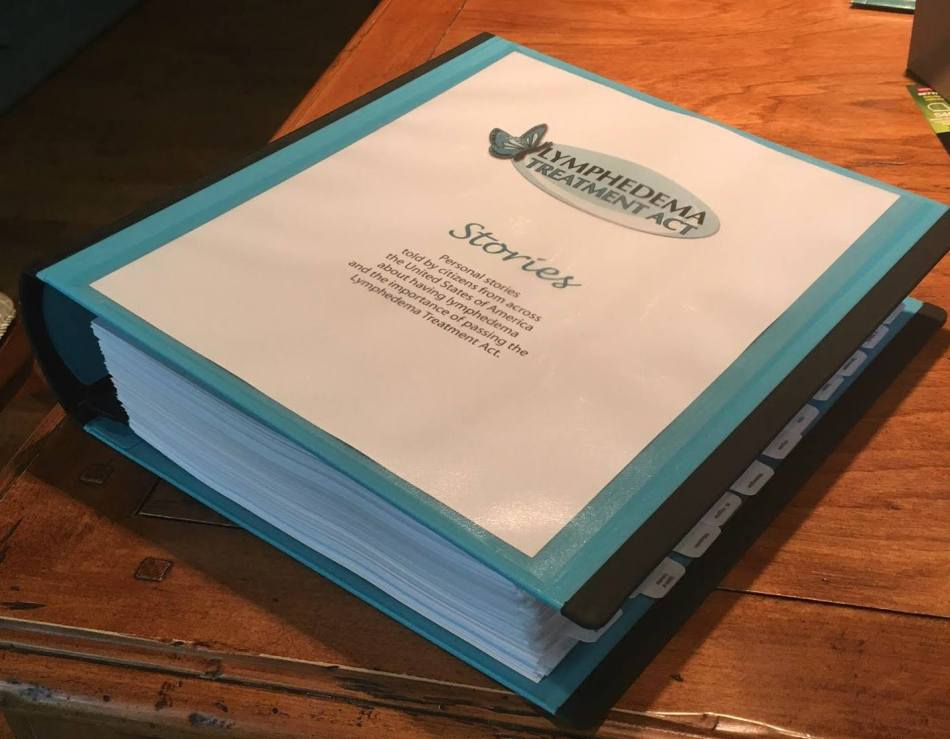 A thick binder of personal stories of Americans whose lives have been touched by lymphedema.