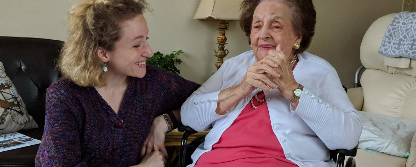 Alexa and her grandmother, Phyllis Della-Rocca, laugh together.