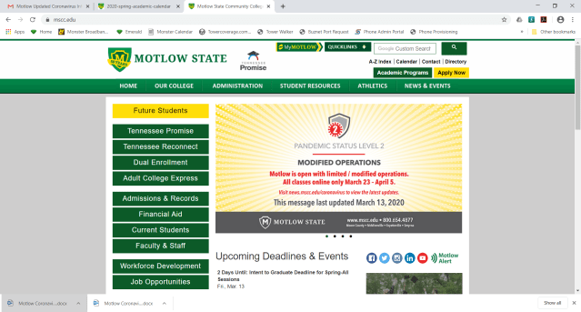 Motlow website screenshot