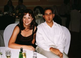 While Nick and I were still platonic friends (my sister's wedding).
