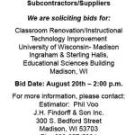 J.H. Findorff & Son Requesting BIDs for Classroom Renovation at UW Madison