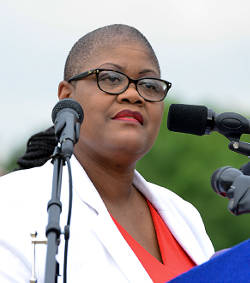 Melanie Campbell, the president and CEO of the National Coalition on Black Civic Participation. Photo taken during a NAACP press conference at the Lincoln Memorial in Washington, D.C. in 2015. (Freddie Allen/AMG/NNPA)