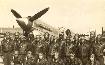 Tuskegee Airmen, a group of fighter and bomber pilots who fought in World War II and were the first African-American military aviators in the U.S. Armed Forces. Photo courtesy of Urban News Service.
