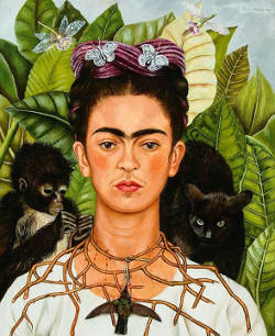 Frida Kahlo, self portrait with Thorn necklace and Hummingbird, 1940.