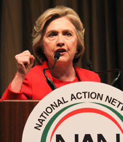 Democratic presidential candidate Hillary Clinton gives remarks at the 2016 National Action Network National Conference. (Joe Tuitt/NNPA News Wire)