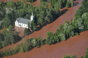 Flood waters surround the Bad River reservation after a storm dumped as much as 10 inches of rain in a single night. Courtesy of the Bureau of Indian Affairs
