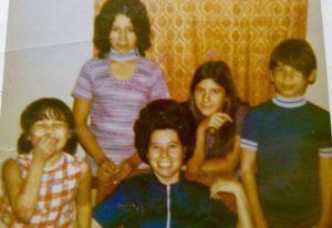 The Plazas in 1974: (Left to right) Tina, Eva, Mom, Angelo and Sergio in El Paso, Texas. Photo courtesy of Eva Plaza