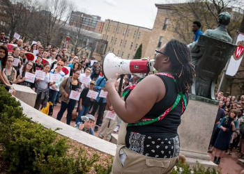UW-Madison students protest last spring, following a series of racist incidents happened on campus. Ken Fager (CC BY-NC-SA 2.0)