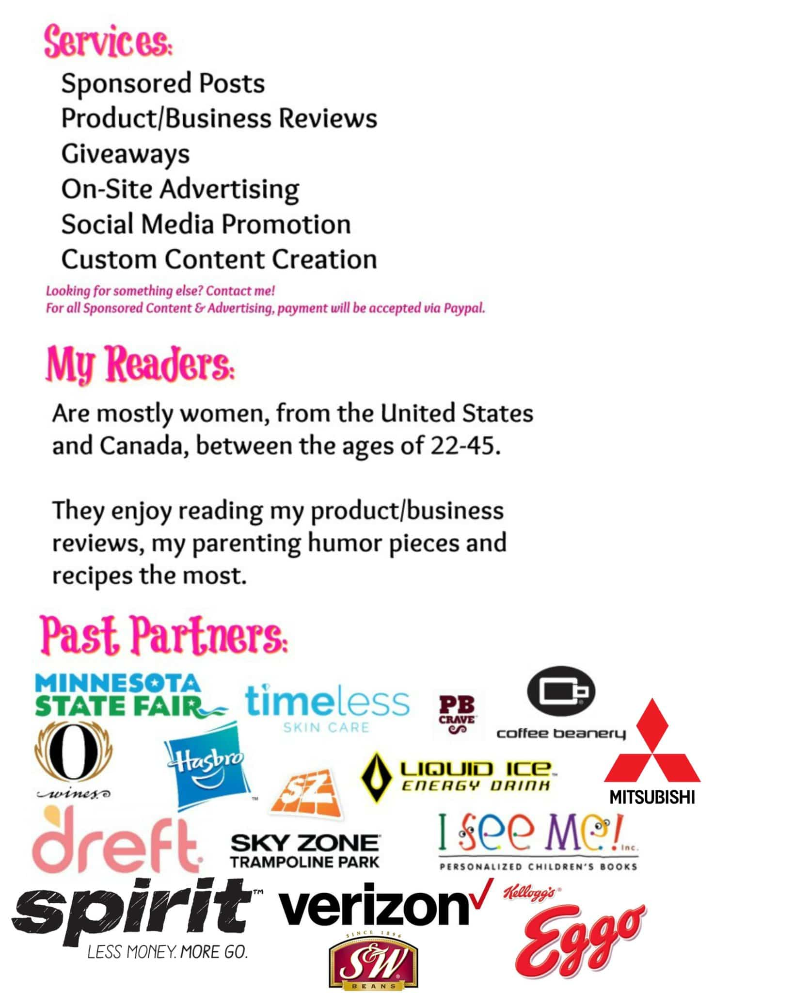 Here is a sample of my media kit and a few of the reasons why you would want to hire this blogger!