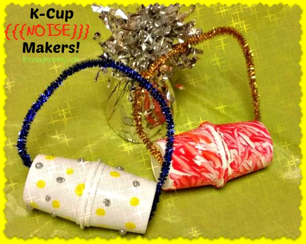 I had to come up with a fun noise maker that wouldn't drive me crazy! So here are my K-cup Noise Makers!