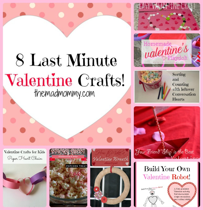 Here are 8 awesome, last minute Valentine Crafts for you to do with your kids!