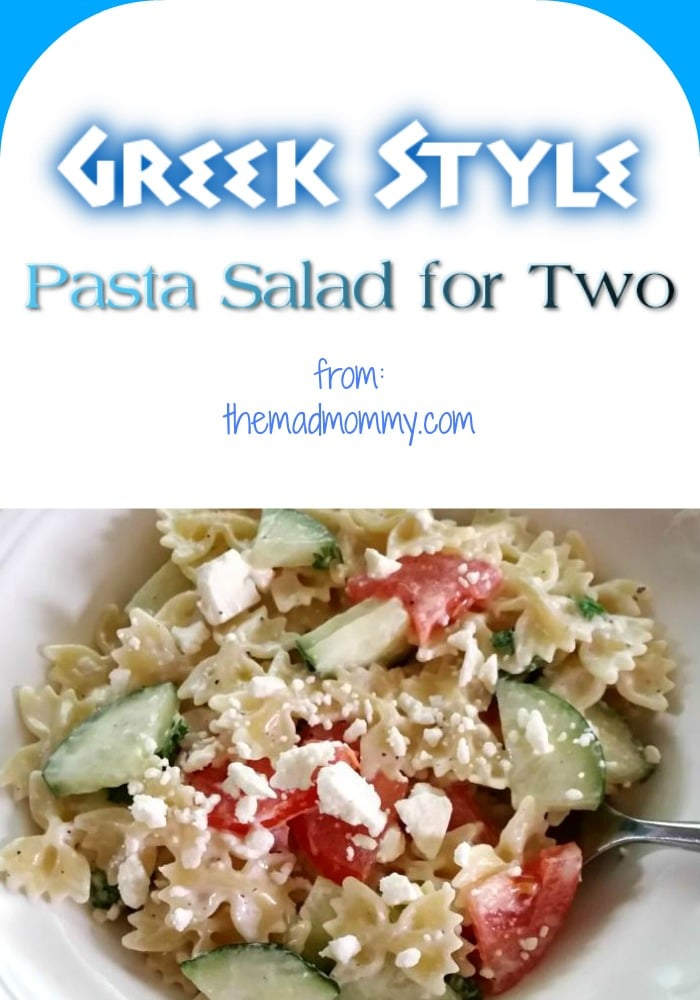I hope you enjoy this quick and easy Greek Style Pasta Salad for Two. It's the perfect summer dish!