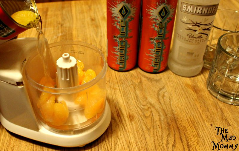 Add about 1/4 cup of mandarin orange juice for a Vanilla Orange Krush cocktail.