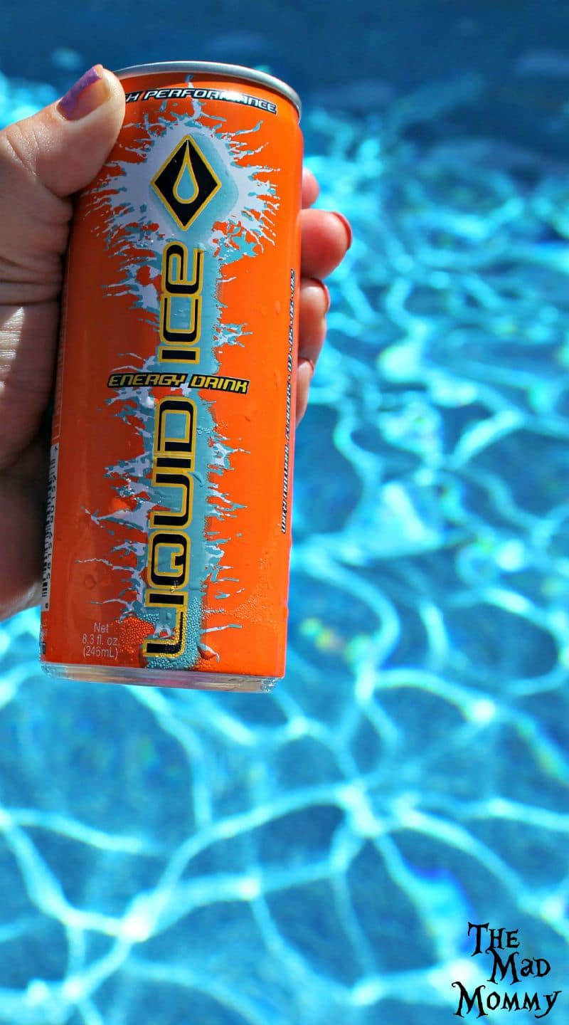 Liquid Ice Orange Energy Drink is quite refreshing on a hot day by the pool!