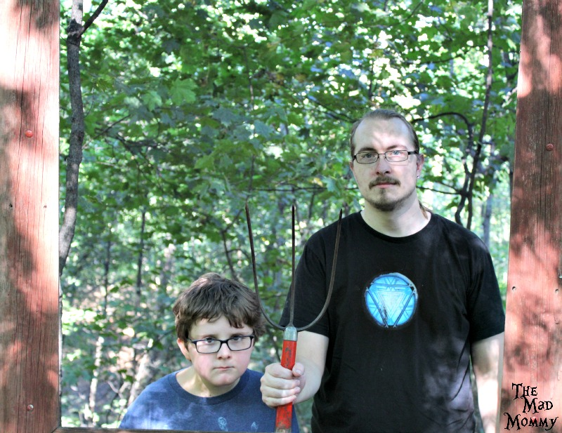 American Gothic in the woods at the Minnetonka Orchards.