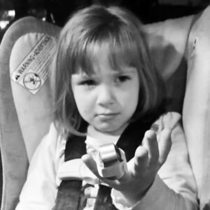 The disappointed look that my 4 year old gave me after finding out that her finger is broken.