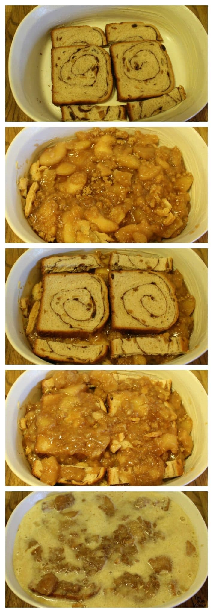 Layering your Apple Pie Baked French Toast with cinnamon swirl bread and Dutch Apple Pie! #ShareTheJoyOfPie #ad #CollectiveBias