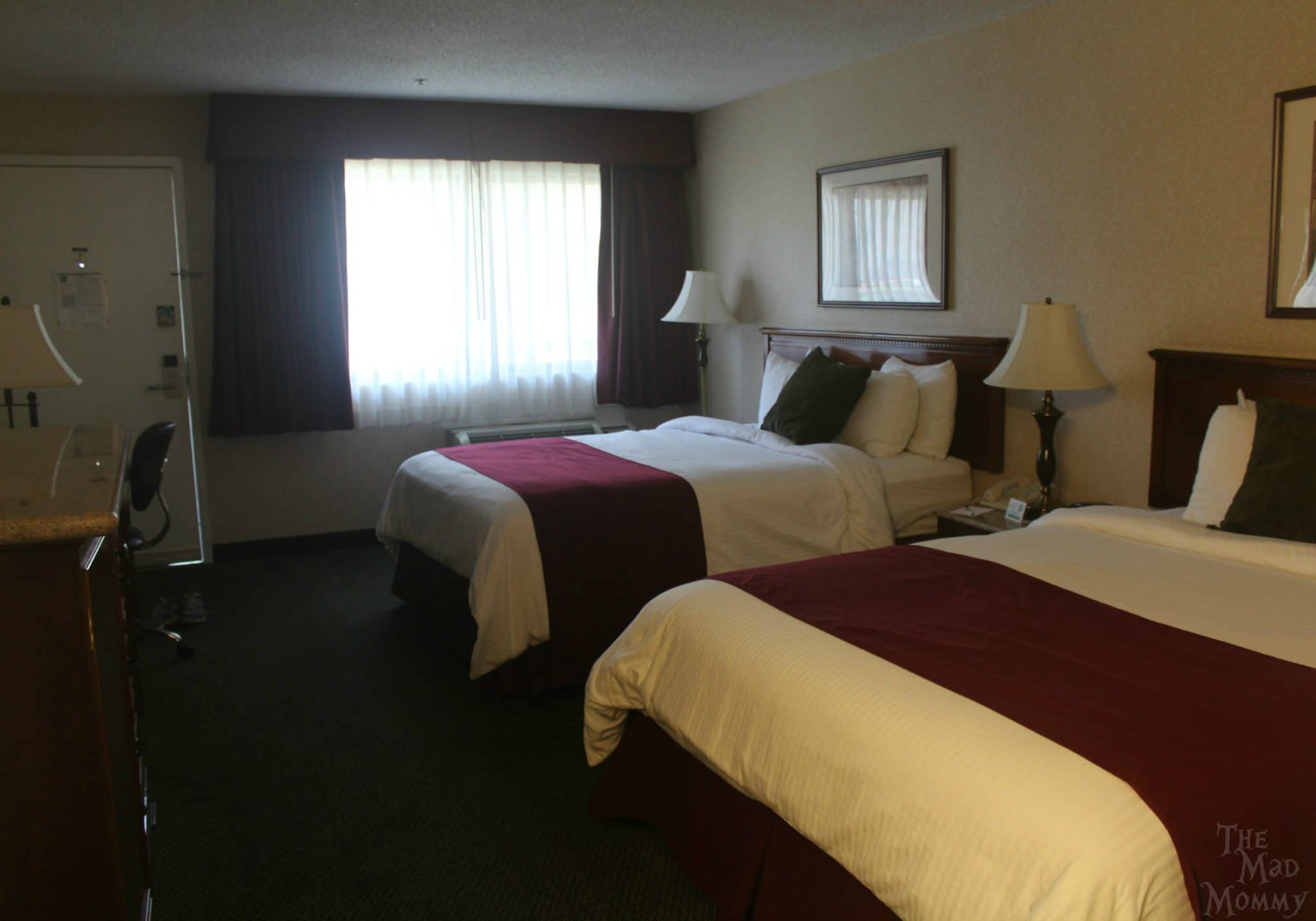 Standard room with two queens at the Best Western Plus Orange County North in Santa Ana, California.