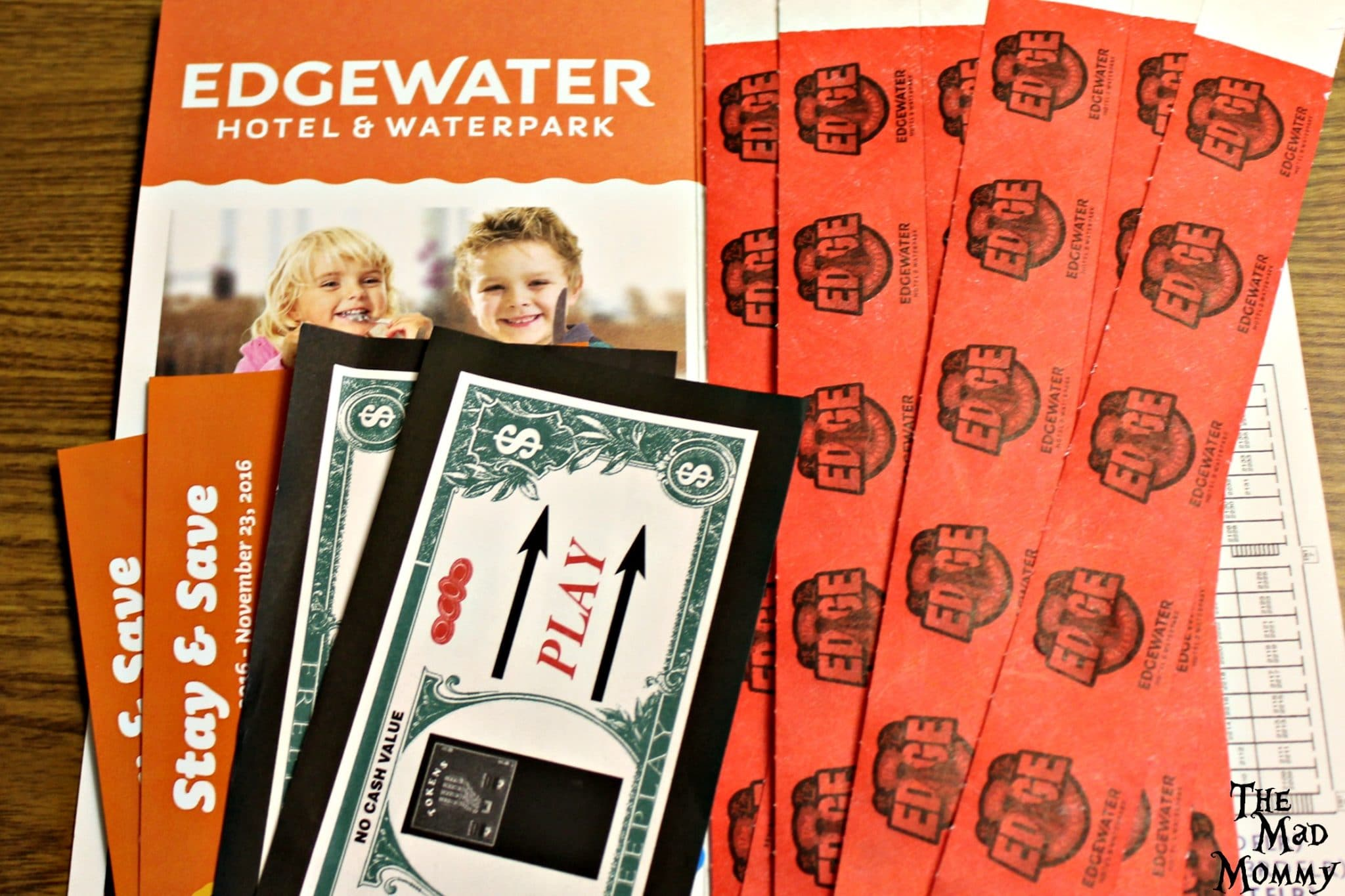 When you book a room at the Edgewater, you receive wristbands for the waterpark, some free play for the arcade, coupons for your next stay and, my favorite, BOGO drink chips for the bar and coffee shop!