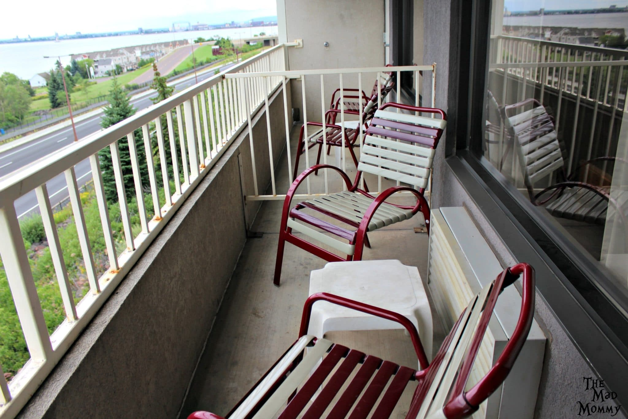 Semi private balcony at The Edgewater Hotel and Waterpark in Duluth, MN.