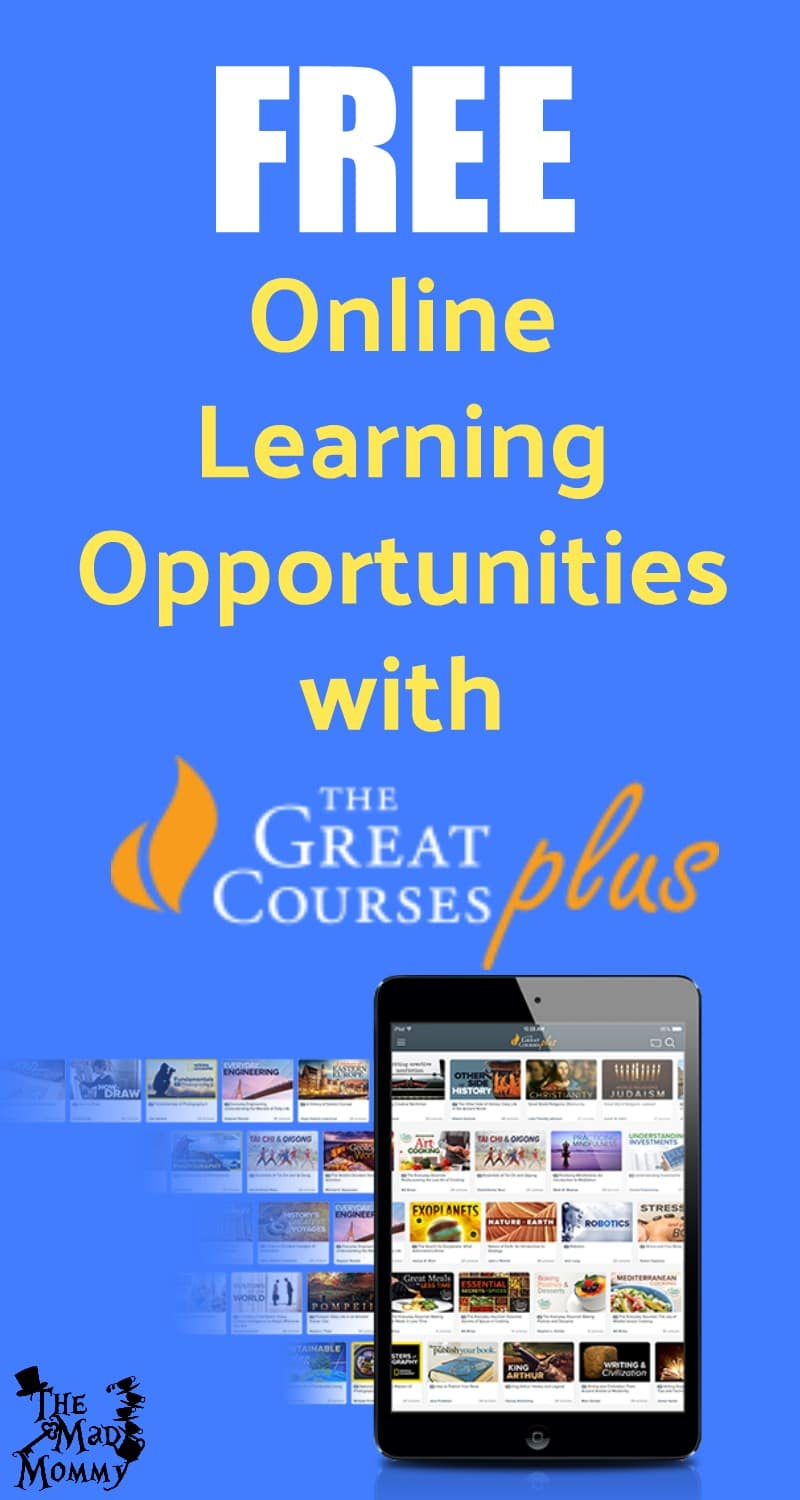 Are you like me and thinking about going back to school, check out the free online learning opportunities at TheGreatCoursesPlus.com!