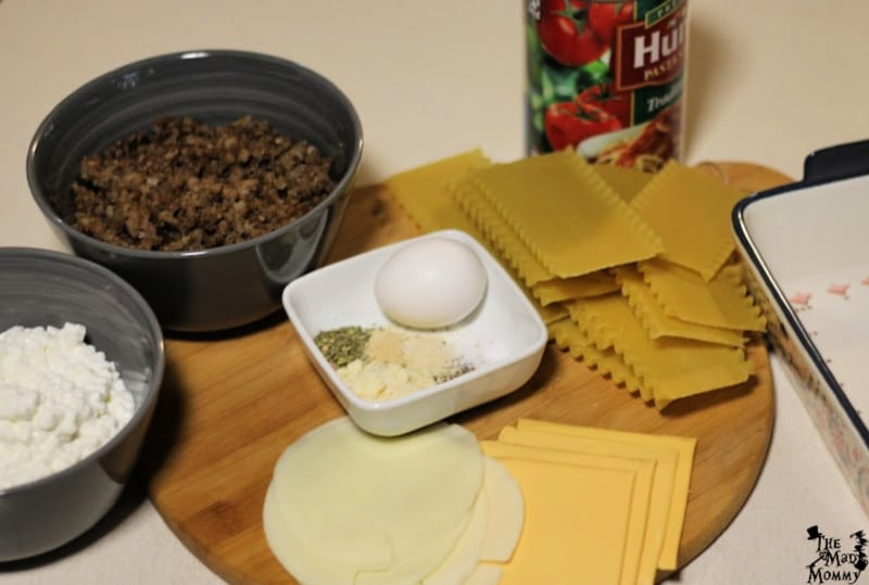The ingredients for my Lazy Lasagna recipe!