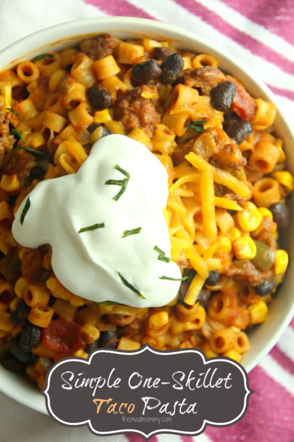 Easy recipes 101: if it has the word taco in it, you can make it simple. Now, don't get me wrong. I know REAL Mexican tacos take a lot of time and love to get the meat and tortillas perfect, but I'm just a mom throwing together a one-skillet taco pasta!