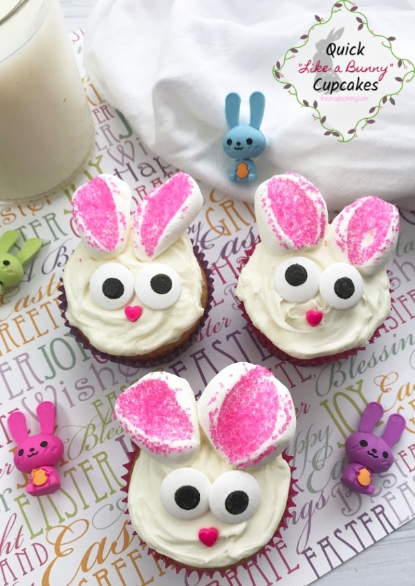 Easter is right around the corner. I mean, seriously, it is less than 2 days away and if you are anything like me, a queen of procrastination, then you might be in need of some quick and easy Easter dessert recipes. I am happy to say that these Easy Easter Bunny Cupcakes are adorable and a real crowd pleaser!