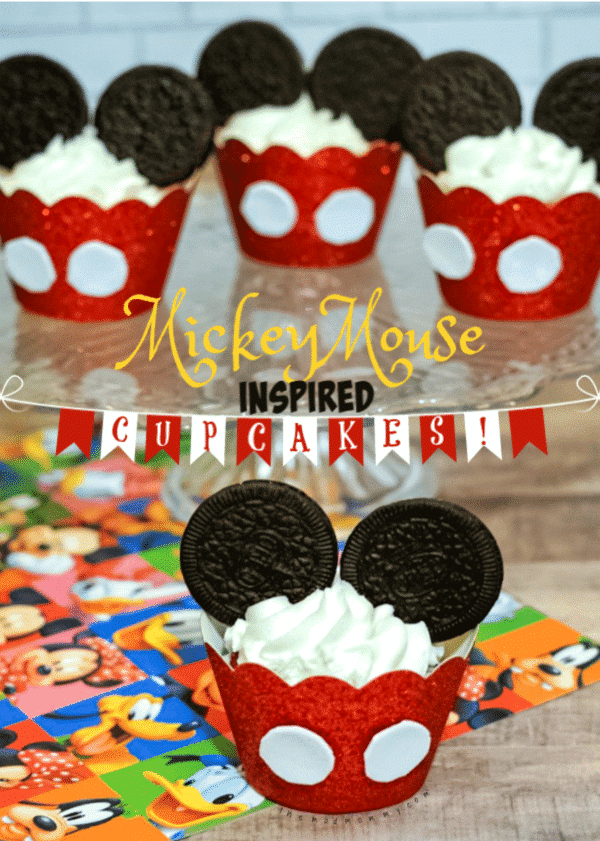 We should never forget the mouse, who inspired Walt Disney all those years ago, to dream up and create what we have! This my Thank you to Mickey. They are my Mickey Mouse Inspired Cupcakes! (and yes, it's an easy recipe too!)