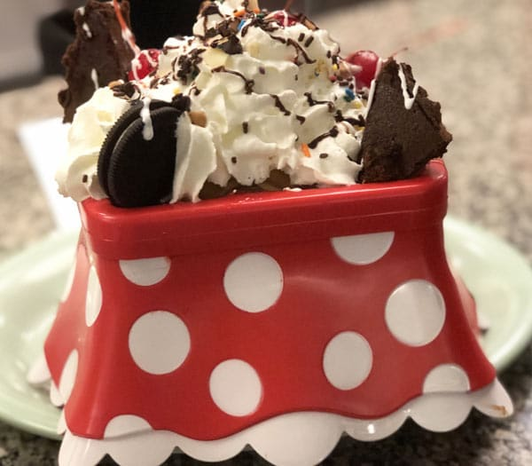 Minnie and Mickey's Everything but the Kitchen sink sundaes!
