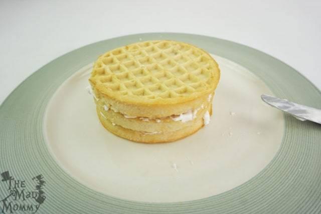 Assembling your Stranger Things inspired waffle cake.