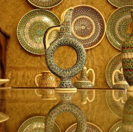 Turkish ceramics are made in the region. This water pitcher is a Hittite symbol of the sun. Cappadocia was once part of the Bronze-Age Hittite Empire (from about the 1700s to 1100s BCE)