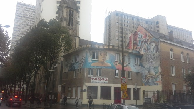 Chinese Notre Dame church, and there are the tower blocks lurking behind again