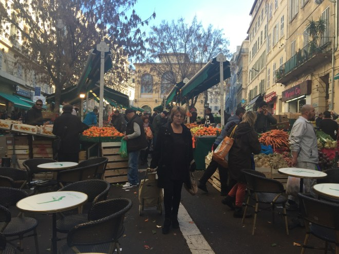Fruit and veg market.  Most of Marseille's immigrant population come from Comoros' a former French colony that is now the third poorest country in the world.