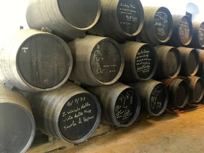 many of the barrels have been signed by famous people who have visited
