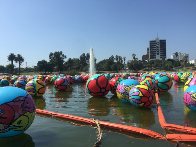 Lots of balls in the lake at McArthur Park for Portraits of Hope project