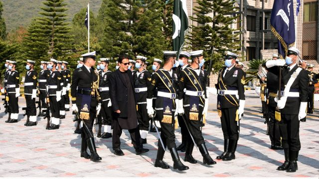 Honourable Prime Minister of Pakistan is reviewing Guard of honour at Naval Head Quarters.