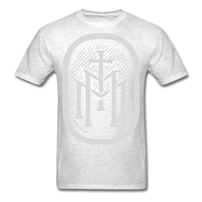 the majestys men mens tmm bold monogram front light heather oxford tshirt