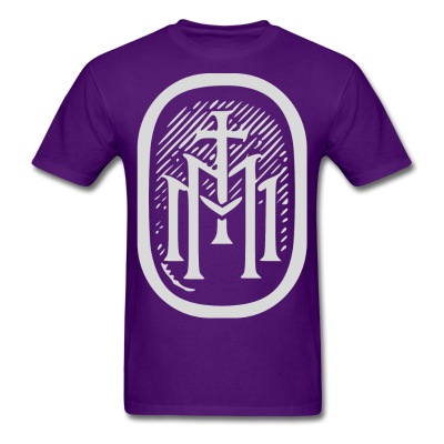 the majestys men mens tmm bold monogram front purple tshirt
