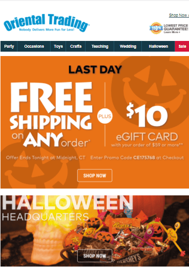 oriental trading coupon discount code halloween free shipping