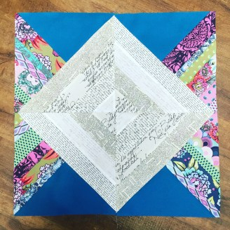 Whippersnapper God's Eye block pattern by Anna Maria Horner, Fabric is Tula Pink and various text