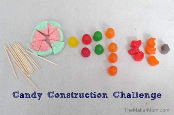 Candy Construction Challenge, a STEM snacktivity from www.TheMakerMom.com